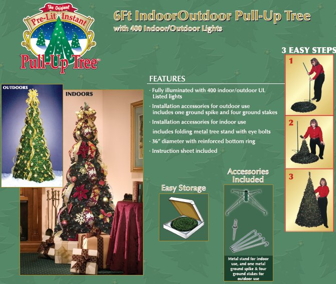easy steps to assemble a pull up tree - Pull Up Christmas Trees Decorated